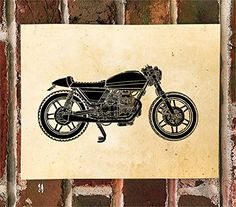 KillerBeeMoto Limited Print: Custom Moto Guzzi Cafe Racer Motorcycle Print. This is a custom Moto Guzzi cafe racer of an Instagram friend of mine. The machine is lovely. We are only printing 50 of these so when they are gone, they are gone. We can remove the text or change to something you prefer.