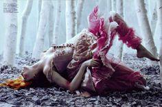 "Oksana Tessitelli.Once upon in a Fairytale: Inspiration. ""Sogno Romantico"". Polina Kouklina by Javier Vallhonrat for Flair January 2005"
