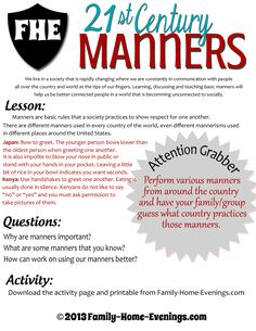 Family Home Evening-Family Nights-Manners-Teaching Manners to Children-Lesson copy