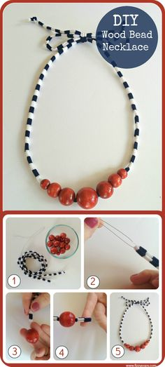 Jersey knit and wood bead necklace! So easy to make and super comfy too. Visit FizzyPops.com for supplies and tutorial.