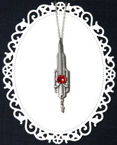 Silver filigree pendant | Red crystal art deco jewelry | Metropolis | Victorian Art Nouveau necklace | Sterling silver chain by…