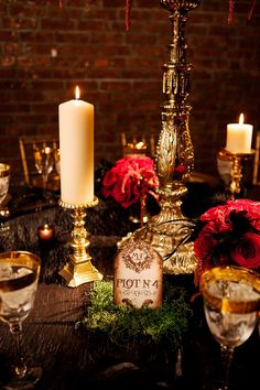 Halloween wedding decor // photo by Photo Pink // http://ruffledblog.com/dracula-inspired-halloween-wedding