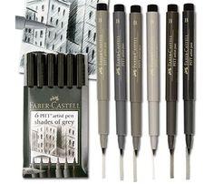 Faber Castell Pitt Artists Brush Pens Shades of Grey Wallet from Art  Supplies Online