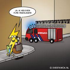 Daar krijgt ie gedonder mee. #cartoon