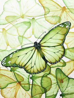 Green Painting - Green Butterflies by Christina Meeusen