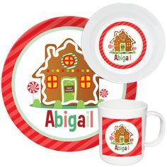 Gingerbread House Melamine Set  sc 1 st  Pinterest & Make Mealtime Fun with Personalized Dinnerware u0026 Custom Melamine ...