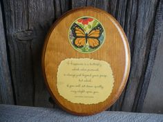 Vintage Wood Wall Plaque Butterfly Wall by TheEarlyBirdFinds