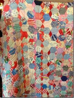 Terrific 1930s hexagon and diamond row quilt found in Weatherford, TX Nov 2013