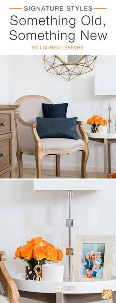 Pairing classic furniture with contemporary decor is one of fashion blogger Lauren Lefevre's go-to styling tricks. Here, she pairs an antique-style arm chair with a contemporary white and gold side table and a modern metallic lamp. Click to see more timeless decor on sale now during The Home Event.
