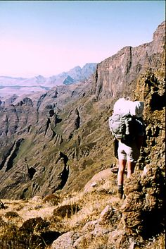 Looking back past Cleft Peak towards Champane Castle in the Drakensburg