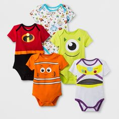 f082eca1d52 Dress your little one for adventures past the reef or to infinity and  beyond with this 5-pack of Disney Pixar Short-Sleeve Bodysuits. This baby  bodysuit set ...