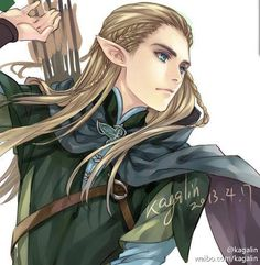 Legolas from Lord of The Rings, anime style