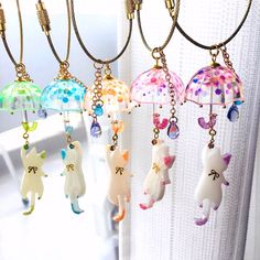 Super adorable necklaces kitten's the police station has a certain and umbrellas Kawaii Jewelry, Kawaii Accessories, Cute Jewelry, Jewelry Accessories, Bottle Charms, Resin Charms, Resin Jewelry, Jewelry Crafts, Handmade Jewelry
