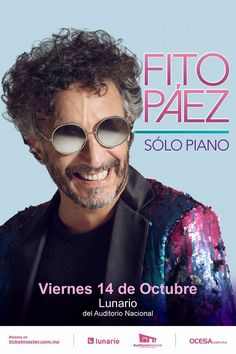 Fito Páez Viernes 14 de Octubre Lunario del...   Mirrored Sunglasses, Mens Sunglasses, Thing 1, Music Posters, Illustrator, October 14, Musica, Auditorium, Rocker Chick