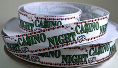 7/8 Casino Night  Printed Grosgrain Ribbon