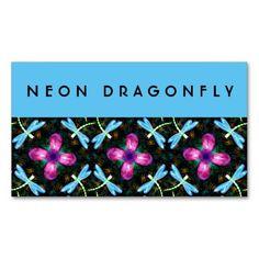 Neon Dragonflies Pink Flower Black Shimmer Pattern Business Card Templates