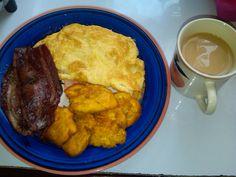 Turkey bacon, eggs, fried green plaintain n milo