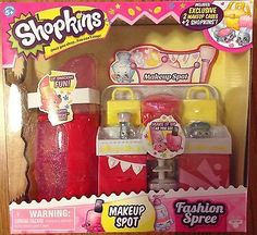 SHOPKINS FASHION SPREE MAKEUP SHOP INCLUDES 2 EXCLUSIVE SHOPKINS | eBay