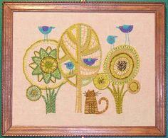 Tree crewel embroidery.