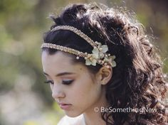 Beaded Double Tie Blush Wedding Headband with Flowers and Beading for your wedding day on Etsy, $60.00