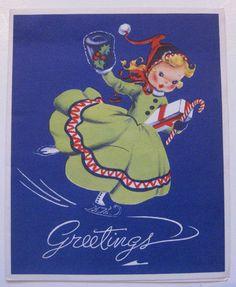 Lot 5 Vtg 40's 50's Ice Skating Children Girl Muff Scenes Christmas Cards | eBay