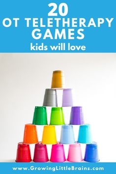 20 OT Teletherapy Games Kids will love — Growing Little Brains Occupational Therapy Activities, Pediatric Occupational Therapy, Pediatric Ot, Sensory Therapy, Ot Therapy, Therapy Games, Therapy Ideas, Therapy Tools, Games For Kids