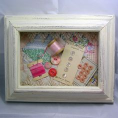 Shabby Elegant Sewing Shadow Box by sumpnsassy on Etsy, $25.00