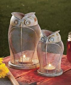 Rustic Owl Candle Lanterns In or Outdoor Decor Ambient Lighting Small or 2pc Set #Unbranded