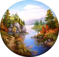 Songwriting Landscapes of Russia – Stickmuster – DamaW -… - Kunst Beautiful Nature Pictures, Beautiful Nature Wallpaper, Beautiful Paintings, Circle Canvas, Circle Art, Scenery Paintings, Landscape Paintings, Watercolor Landscape, Watercolor Art