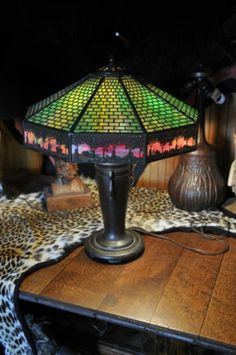 Handel Overlay Arts Crafts Lamp | eBay
