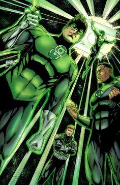 Linternas de la tierra: (adelante hacia atrás) Hal Jordan, John Stewart, Guy Gardner y Kyle Rayner.