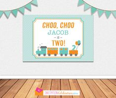 Train Party BACKDROP - Personalized - Vintage Modern - Choo Choo - Large Poster - Printable File - You CHOOSE SIZE #catchmyparty #trainbirthdayparty #boybirthdayparty #trainbackdrop #trainpartysupplies