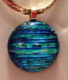 Dichroic Blue Striated Pendant on Etsy, $20.00. SOLD
