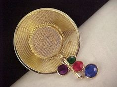 Vtg 1980s Lrg Gold Tone Mesh My Fair Lady Hat Style Acrylic Bezel 3D Brooch Pin  $14.95