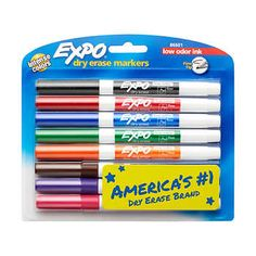 EXPO® Low-Odor Dry-Erase Markers, Fine Point, Assorted Colors, 8ct