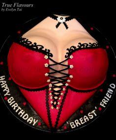 Photo 1 of 2 Birthday Cakes For Men, Funny Birthday Cakes, Funny Cake, Sexy Cakes, Cute Cakes, Bad Cakes, Breast Cancer Cake, Lingerie Cake, Corset Cake