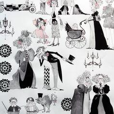 Manufacturer: Alexander Henry (7596A)  Designer: Alexander Henry House Designer  Collection: Ghastlies  Print Name: A Ghastlie Family Reunion in Natural