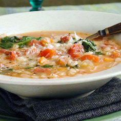 Hearty Bean and Barley Soup Recipe. From Cooking Light. This satisfying bean and barley soup features a delicious and iron-packed combination of red kidney beans and spinach. It's also high in fiber and calcium. Bean And Barley Soup Recipe, Beans And Barley, Gourmet Recipes, Soup Recipes, Cooking Recipes, Healthy Recipes, Crockpot Recipes, Barley Recipes, Bean Recipes