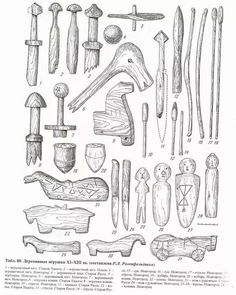 11-13th century wooden toys from Novgorod, Old Russa and Ladoga settlements.