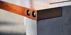 Concrete wood detail Green Furniture, Timber Furniture, Concrete Furniture, Concrete Table, Concrete Wood, Lounge Furniture, Contemporary Furniture, Diy Furniture, Furniture Design