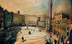 Gyula Batthyány Hungarian), ca. Siena Main Square (Sienai főtér), Oil on cardboard. Budapest, Siena, Maine, Louvre, City, Painters, Modern Paintings, Travel, 19th Century