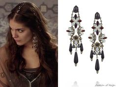 """In the episode (""""Liege Lord"""") Lady Kenna wears these sold out Erickson Beamon 'Pretender' Gunmetal-Plated Swarovski Crystal Earrings. Worn with this BYIA dress, Colette Malouf headpiece, Stuart Weizman shoes. Reign Episodes, Kenna Reign, Lady Kenna, Stuart Weizman, Reign Tv Show, Reign Mary, Reign Dresses, Reign Fashion, Tv Show Outfits"""
