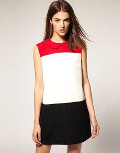 Black White Red Sleeveless Dress