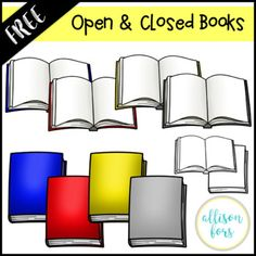 Open & Closed Books Clipart:This free set includes 10 images. Classroom Clipart, Classroom Decor, Classroom Organization, Free Clipart For Teachers, Cool Clipart, Digital Paper Freebie, Free Opening, Free Teaching Resources, Kindergarten Activities