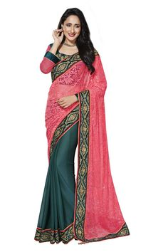 Pink and Bottle Green Half and Half Saree