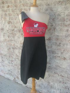 UGA Upcycled Game Day Dress Size L by YoArmadillo on Etsy, $50.00....ohh i wanna make this but FSU