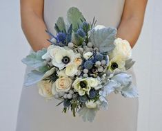 """Everything yo need to create our rose, anemone, thistle, and dusty miller bouquet. Our """"Twilight"""" collection includes DIY wedding flowers that brides arrange. Wedding Flower Packages, Wedding Flower Guide, Cheap Wedding Flowers, Floral Wedding, Wedding Blue, November Wedding Flowers, Sage Wedding, Wedding Ring, Wedding Ceremony"""