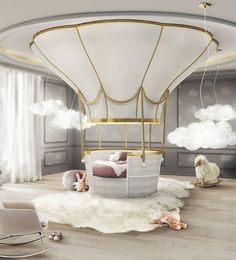 A whimsical hot air balloon themed room #interestinginteriors