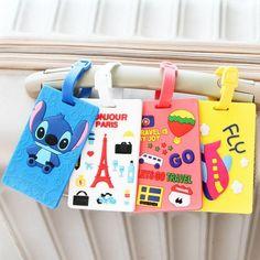 Kawaii Stitch Doraemon Suitcase Luggage Tag Cartoon ID Address Holder Baggage Label Silica Ge Identifier Travel Accessories - Fatekey Doraemon, Travel Luggage, Luggage Bags, Luggage Backpack, Cute Luggage Tags, Luggage Cover, Suitcase Tags, Travel Store, Vacation Travel