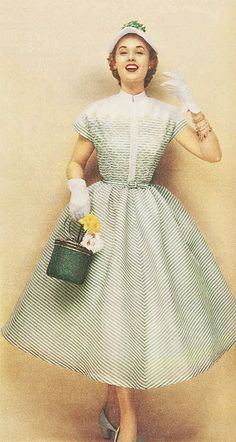 1950s striped spring dress print ad green white full skirt